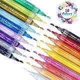 Acrylstifte Marker Stifte, 18 Farben Premium Wasserfest Paint Marker Set Art Filzstift Acrylic Painter für Glasmalerei,Garten, Papier, Metall, Stoffmalerei, Fotoalbum und DIY-Handwerk