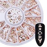 Born Pretty Rose Goldniet Nagel Studs Kreis Stern Rund Quadrat Dreieck Mixed DIY Telefon 3D Nagel-Dekoration