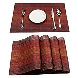 Pauwer Platzsets Set von 6 Gewebt Vinvy Platz-Matten Rutschfest Wasserdichte platzdeckchen Hitzebeständig Tischsets für Küche Speisetisch
