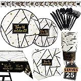 Kompanion 177-teiliges Schwarz und Gold Party Set mit Banner, Tellern, Tassen, Servietten, Tischtüchern, Löffel, Gabeln und Messern für 25 Personen
