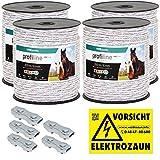 800m Kunststoffseil 6mm mit Seilverbindern Weidezaunseil Weidezaun Litze Kordel für Pferdezaun Pferdekoppel