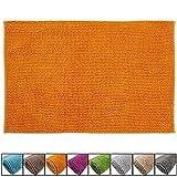 SunDeluxe Chenille Badematte Größen, Badteppich aus Microfaser nach ÖKO TEX Standard 100, Welness Badeteppich/Duschvorleger, Größe:50 x 80 cm, Farbe:Orange