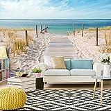 decomonkey | Fototapete Strand Meer blau 400x280 cm | VLIES TAPETE | moderne Wanddeko | Riesen Wandbild | Design | Fototapeten | Wandtapete | Landschaft Meer Wasser Natur beige Sand | FOA0007a84XL