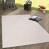 In- & Outdoor Flachgewebe Teppich Terrassen Teppiche Natürlicher Look In Beige, Grösse:60x100 cm