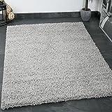 Prime Shaggy Teppich Grau Hochflor Langflor Teppiche Modern für Wohnzimmer Schlafzimmer Einfarbig 80x150 cm