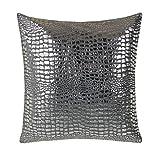 BRANDSSELLER Trendiges Microfaser Kissen Kopfkissen Zierkissen Dekokissen Kuschelkissen im Schuppendesign - Grau/Silber - mit Füllung
