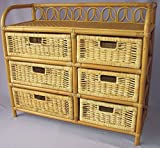 Rattanregal mit 6 Schüben , Korbregal mit Schub , Korbfarbe : honig , Größe : B 100 cm , T 36 cm , H 75 cm .