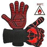 EZILIF Grillhandschuhe Hitzebeständig bis zu 800℃ / 1472℉ Ofenhandschuhe EN 407 Zertifizierte BBQ Handschuhe mit Silikon Rutschfeste Kaminhandschuhe für Grill, Kochen, Backen(1 Paar)-33 cm