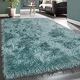 Paco Home Moderner Wohnzimmer Shaggy Hochflor Teppich Soft Garn In Uni Pastell Türkis, Grösse:120x170 cm