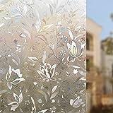Rabbitgoo 3D hochwertige Premium No-Kleber Wiederverwendbare Statische erhellende Dekorative Privatleben Frost Glas-Fenster-Film-Aufkleber Anti-UV-44.5cm x 200cm Blumen-Entwurf | Upgrade-Version für Heim Kueche Buero