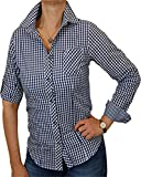 trenditionals Klassische Landhaus Trachtenbluse MARIE kariert tailliert mit Krempelärmel, Größen:44;Farben:kobalt