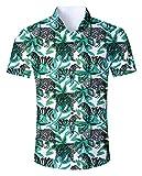 Goodstoworld Herrenhemd Leopard Kurzarm Comfort Fit Outdoor Hemd Herren Modern Hawaiihemd Männer Retro Gemusterte Shirt
