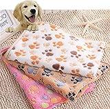 Idepet Weiche warme Korallenwurf Haustier Decken Bett Matten Auflage Abdeckungs Kissen mit Tatzen-Druck für Hundekatzen Kätzchen Kleine annimal (S, Weiß)