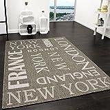 Teppich Modern City Sisal Optik Flachgewebe Designer Teppich in Grau, Grösse:200x280 cm