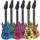 6x Luftgitarre Rockstar aufblasbare Air-Guitar Luft-Gitarren aufblasbar 100cm bunt