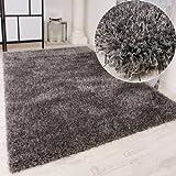 Paco Home Shaggy Teppich Hochflor Langflor leicht Meliert Qualitativ u. Preiswert Uni Grau, Grösse:120x170 cm