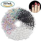 Nagelsticker, Diealles 50 Blatt 3D Design Selbstklebende Tipp Nail Art Sticker Decals 3D Design Maniküre Tipps Abziehbild Dekorationen