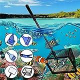 Aquarium-Reinigungsset, 6-in-1, verstellbarer langer Griff, Aquariumreiniger mit Kiesbesen, Algenschaber, Glasschwamm, Wasserpflanzengabel, Unterwasser-Schmutznetz, Aquariennetz-Reinigungswerkzeug