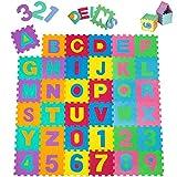 TecTake Kinderteppich Spielmatte Lernteppich 86 tlg. ca. 180x180 cm
