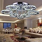 VINGO 88W LED Kristall Deckenleuchte Deckenlampe Modern Kronleuchter Pendelleuchte Hängeleuchte Energie Sparen einstellbar für Wohnzimmer Küchen Schlafzimmer mit Fernbedienung