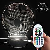 DONJON LEDNachtlicht, LED Fußball Lampe mit Wireless-Fernbedienung 16 Farben für Kind Schlafzimmer - (Geburtstagsgeschenke, Weihnachtsgeschenke, usw. )…(Fußball Lampe)