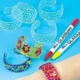 Transparente Mosaik-Armreifen aus Acrylglas für Kinder zum Bemalen - Schmuck - Armspangen - 6 Stück