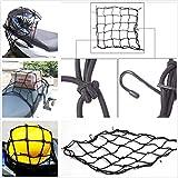 takestop elastischer Netz-Objekte Aufbewahrungsbox schwarz Universal mit 6Haken 40x 40cm Nylon und Metall für Motorrad Roller Fahrrad Scooter Helm