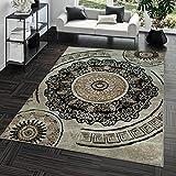 TT Home Kurzflor Teppich Preiswert Pflegeleicht Versace Muster Orient Optik Beige Braun, Größe:60x100 cm