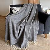 Linen & Cotton Luxus Stilvolle Decke, Tagesdecke, Wolldecke Merino STONEWOLD, 100% Weicher Merinowolle - 140 x 200cm, Grau