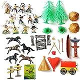 Kinder-Spielzeug Wild West Spiel-Set mit Indianern Pferden Zelte Cowboy-Kostüm Western-Spielzeug