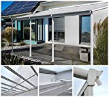 Home Deluxe Terrassenüberdachung | weiß | Inkl. komplettem Zubehör | 557 x 303 x 206 / 258 cm