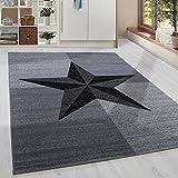Moderner Kurzflor Guenstige Teppich Stern gesäumt Schwarz Grau Weiss meliert 5 Groessen Wohnzimmer, Jugendzimmer, meliert Kinderzimmer,, Größe:200x290 cm