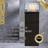 Bio Ethanol Feuersäule Feuerschale Feuerstelle Feuerkorb Kamin Ofen für Garten und Terrasse aus Polyrattan passend zu Sonnenliege und Gartenmöbel Farbe Java Braun