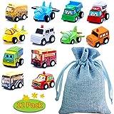 BBLIKE Spielzeugautos, 12 Stück Mini Auto zurückziehen Spielzeug Auto mit Spielzeug Aufbewahrungstasche, Spielzeugauto ab 3 4 5 Jahren Pull Back Autos Spielzeug Autos für Kleinkinder