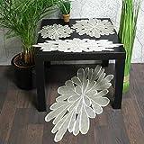 Tischdecke Tischläufer Deckchen beige Motiv Blüte rund und oval leicht organza (40 x 85 cm)