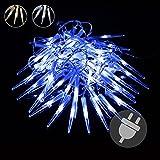 60er LED Eiszapfenkettekette Lichterkette Leuchtfarbe blau für Innen Aussen Trafo schwarzes Kabel Weihnachtsbeleuchtung Weihnachtsdeko Festdeko Partydeko Partylichter wasserfest Länge 7,8 m Xmas