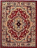 Carpeto Klassischer Orientteppich & Perserteppich mit Orientalisch Muster Kurzflor in Rot/Top Preis - ÖKO Tex (80 x 150 cm)