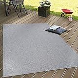 In- & Outdoor Flachgewebe Teppich Terrassen Teppiche Natürlicher Look In Grau, Grösse:120x160 cm