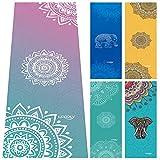 Yoga Handtuch, Matten Handtuch mit Smart Ecke Taschen und elastische Schlaufe, rutschfeste Hot Yoga Handtuch für Bikram, Pilatus, Fitness 63 x 183 cm von ucooly, damen, Mandala-Purple