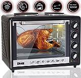 DMS 48L Mini-Backofen mit Kochplatten Drehspieß Umluft Pizzaofen Ofen , Backofen mit Innenbeleuchtung, Timer 3200 Watt herausnehmbares Krümelblech OCRH-48D