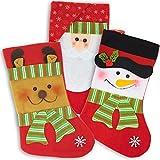 3er Set Weihnachtsstrümpfe und Nikolausstiefel im Vintage Look - christmas stocking - Weihnachtssocken und Weihnachtsstrumpf mit 3 Weihnachtsmotiven - Weihnachtsdeko und Kamin Dekoration