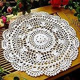 tianfuheng Vintage hohl Blume Tisch-Sets Hand gehäkelt Spitze Deckchen rund Tisch Untersetzer, weiß, Einheitsgröße