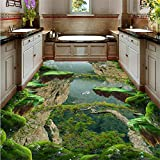 Tapeten Vinylboden Wasserdichte Kundenspezifische Tapete Des Bodens 3D Forest Valley Moderne Tapete Des Vinylbodenbelags-Badezimmers-200 * 140Cm