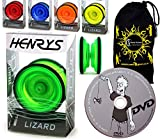 Henrys YoYo LIZARD + Lernen Yo Yo Tricks DVD + Reisetasche! Yoyo profi für Kinder und Erwachsene! AXYS-Systemachse Slider mit High-Speed-Lager. (Grun) by Henrys / Flames N Games