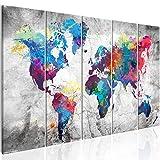 murando - Bilder 200x80 cm - Leinwandbilder - Fertig Aufgespannt - Vlies Leinwand – 5 Teilig - Wandbilder XXL - Kunstdrucke - Wandbild - Weltkarte Welt Karte Kontinent Landkarte k-A-0179-b-p