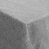 femor Tischdecke 150x300 cm Tischtuch Leinenoptik Lotuseffekt Wasserabweisend Fleckschutz pflegeleicht schmutzabweisend abwaschbar Tischwäsche Eckig Grau