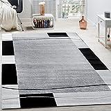 Designer Teppich Wohnzimmer Teppich Bordüre in Grau Schwarz Creme Preishammer, Grösse:80x150 cm