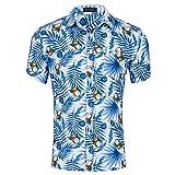 Kuson Urlaub Strand Hawaiihemd Shirt Freizeithemd Kurzarm mit Modischem Druck Kokosnuss M