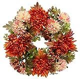 Flair Flower Kranz Dahlie/Chrysantheme mit Beleuchtung, Stoff, orange, 27 x 27 x 8 cm