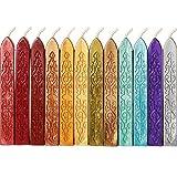 12 Stücke Siegellack Sticks mit Dochte Antikes Feuer Manuskript Siegelwachs für Wachs Siegelstempel (12 Farben)